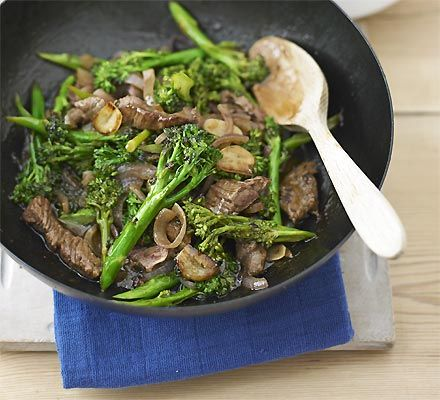 Beef stir-fry with broccoli & oyster sauce.  -- A quick stir fry, just add rice.