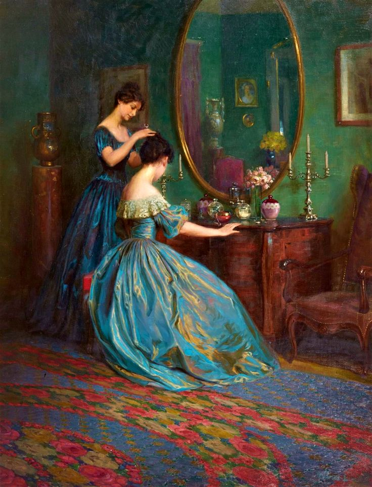 Viktor Schramm, 'Preparing for the Ball'. Romanian painter, 1865-1929). Girls are wearing mid 19th Century Dresses.