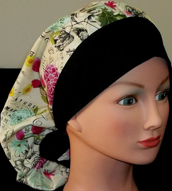 Navy Women/'s Bouffant Style Surgical Scrub Cap White Floral