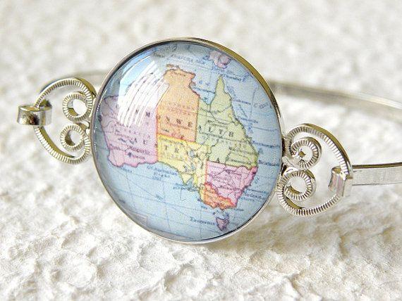 World Traveler Map Bangle Bracelet  Australia by TheGreenDaisyShop, $20.00