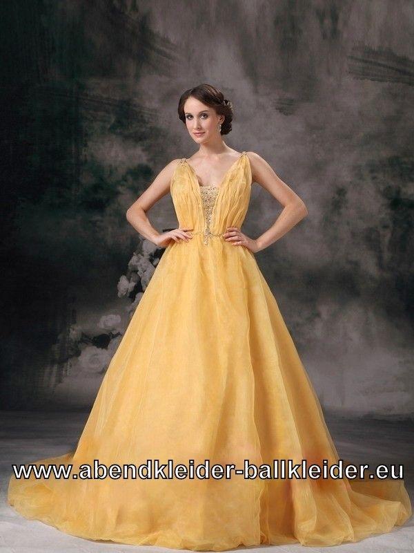 Gelbes V Dekoltee Wolumen Kleid Abendkleid Ballkleid Bodenlang