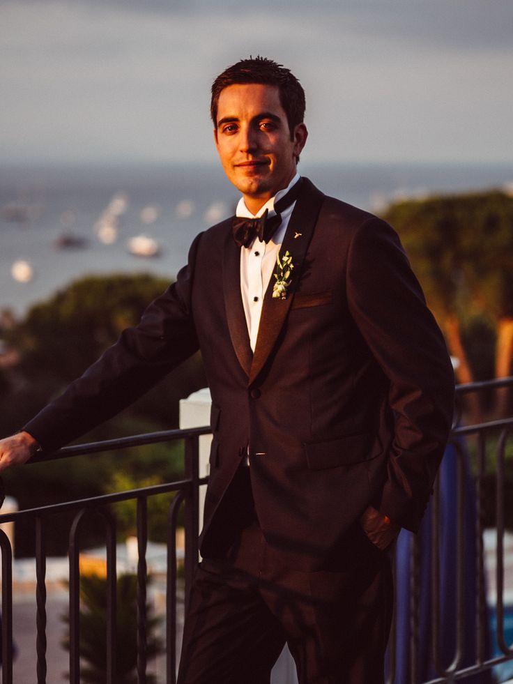 handsome groom at sunset;  VENUE Hotel Villa Belrose, St. Tropez France, PHOTOGRAPHY Joel + Justyna Bedford, destination wedding photographers
