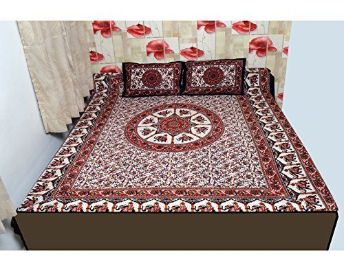 Nonch Le Hand Made 100% Cotton Dark Red Double Bed Sheet .