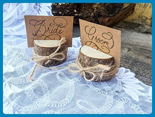 Set of 50 pine tree place card holders, name card holders, rustic wood card holder, shabby chic, pine card holder, 50 card holders, scandinavian card holders, rustic chic, natural card holders - Venue and reception decor (*Amazon Partner-Link)