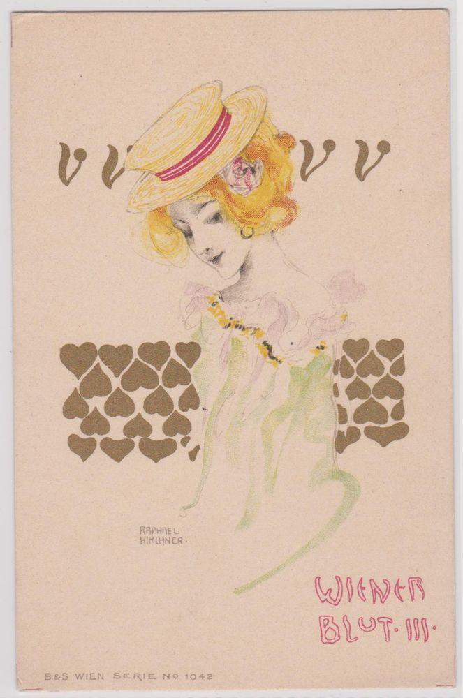 Top Künstlerkarte von Raphael Kirchner:  Wiener Blut  - Litho um 1899 ANSEHEN!!!