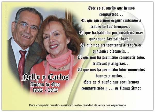 Wedding anniversary invitation card. Tarjeta invitación para Bodas de Oro. Disponible en http