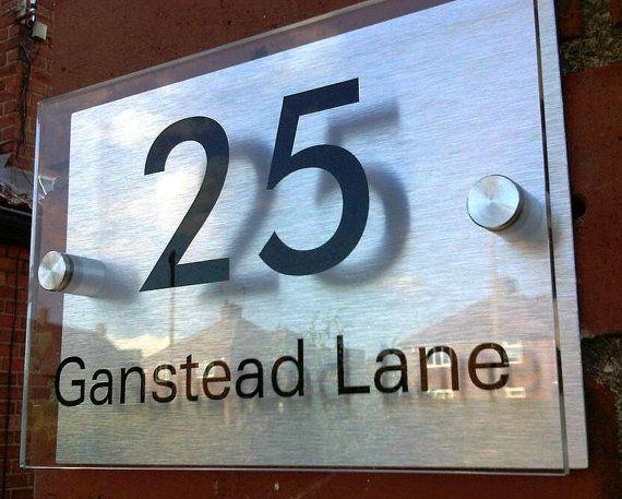 Door number and name plaque bespoke custom made modern acrylic and aluminium - approx & Best 25+ Door numbers ideas on Pinterest   Front door numbers ... pezcame.com