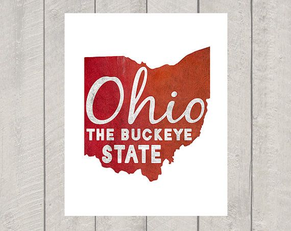 Ohio Art Print  The Buckeye State by DeliveredByDanielle on Etsy, $11.00