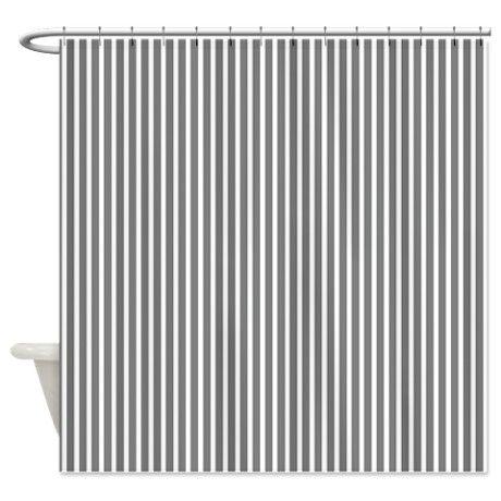 gray pinstripe shower curtain on