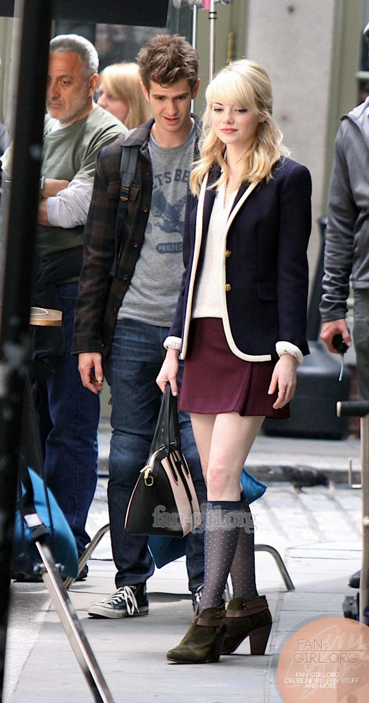 Emma Stone and Andrew Garfield behind the scenes of The Amazing Spider-Man 2