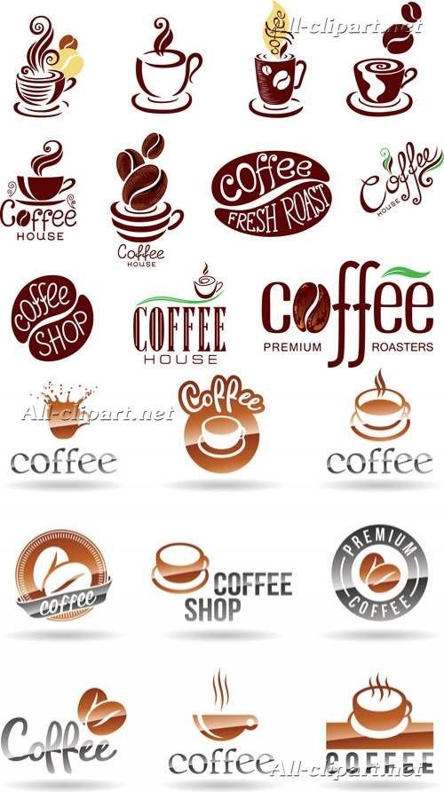 Кофейные логотипы в векторе   Vector coffee logos and elements 2