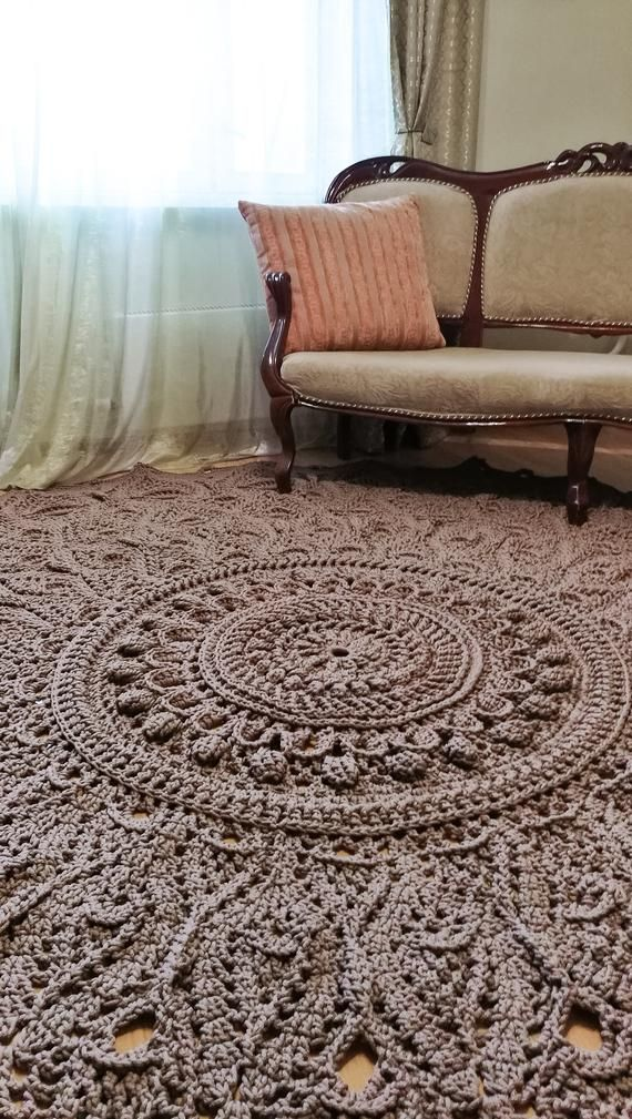 Big Crochet Rug Round Area Rug 118 In Doily Rug Yarn Lace Mat Cottage Nursery Carpet Rustic Floor Decor By Lacemats Laceastermax Rugs On Carpet Round Area Rugs Area Rugs