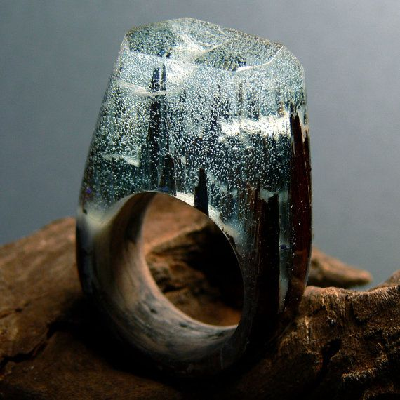 Snowy Forest Wooden Resin Ring made with Santos Rosewood and Snow effects