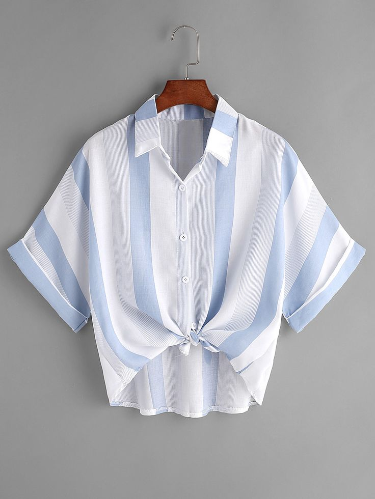 Shop Contrast Striped Tie Front Cuffed Shirt online. SheIn offers Contrast Striped Tie Front Cuffed Shirt & more to fit your fashionable needs.