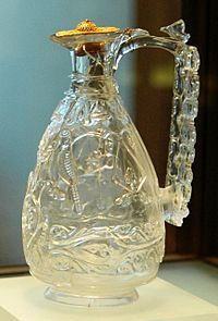 An 11th century rock crystal ewer of Fatimid Egypt.