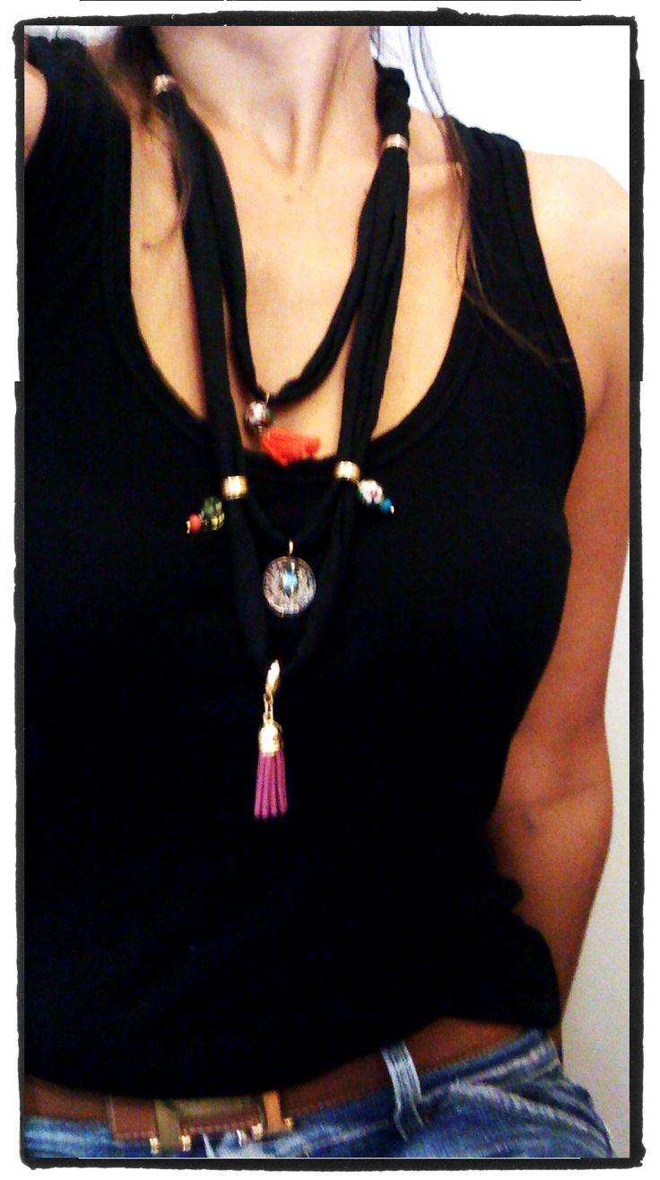 black t-shirt necklace
