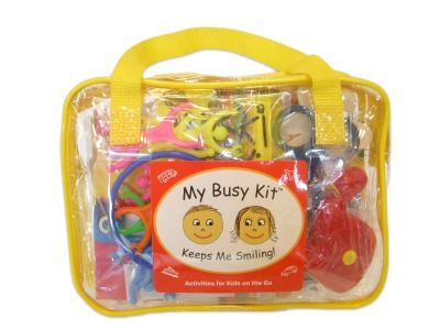 """""""Arm yourself with lots of options with My Busy Kit, a mom-made tote stuffed with activities, including markers, tape, quiet toys and lacing puzzles."""" Plus 50 other ideas on this site."""