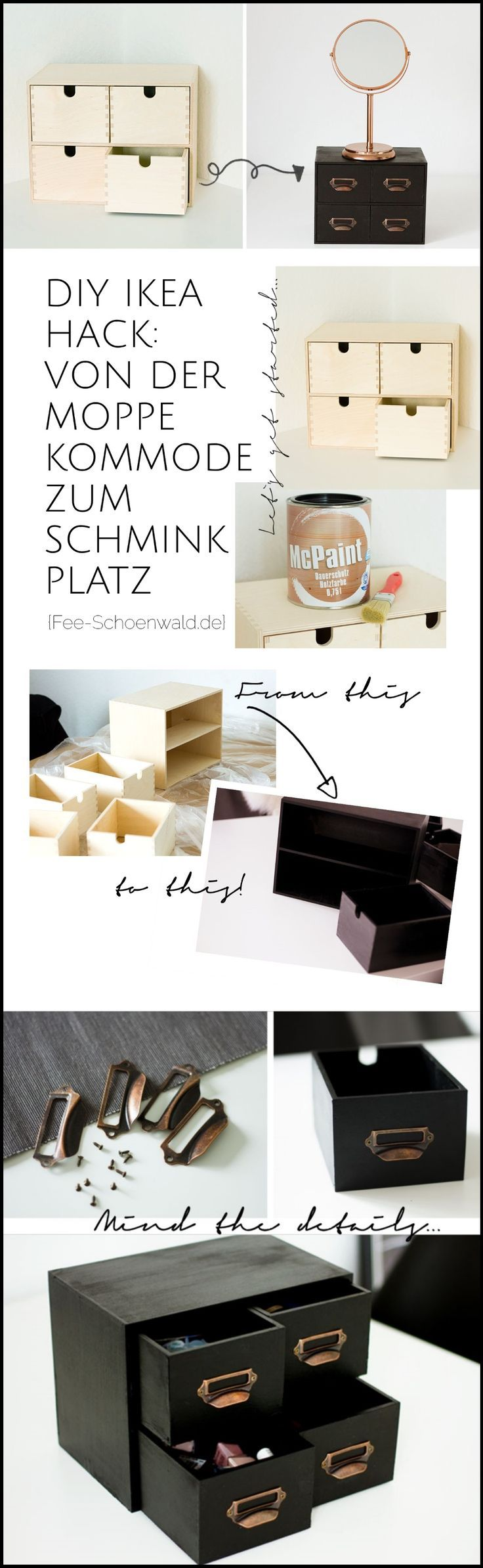 Ikea Upcycling Hack: DIY Schminkkommode von Moppe. In Schwarz-kupfer ist die gü