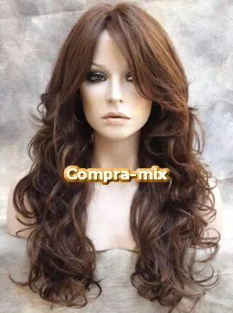 peluca super natural larga color castaño cobrizo, sp0