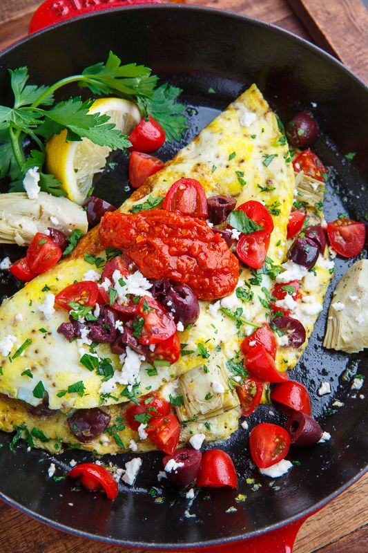 Mediterranean Omelette These omelettes are packed with simple and yet tasty Mediterranean style ingredients including tomatoes, olives, artichokes, feta and a roasted red pepper sauce! You'll certainly remember how to appreciate breakfast again with these light and fluffy Mediterranean omelettes!
