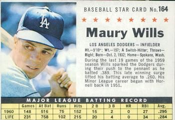 1961 Post Cereal #164b Maury Wills Front