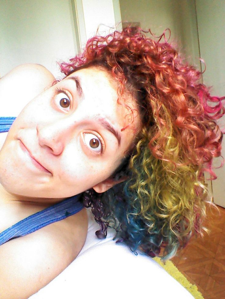 rainbow curly hair