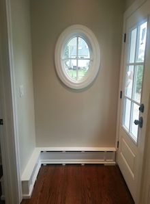 A Baseboard Heater Is Turned Into Room Trim With A Cover By OverBoards.  Baseboard HeatingBaseboard Heater CoversRustic BasementBasement ...
