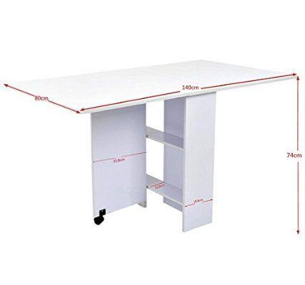 Outsunny - Tavolo pieghevole scrivania tavolo mensola tavolino in legno bianco con ruote