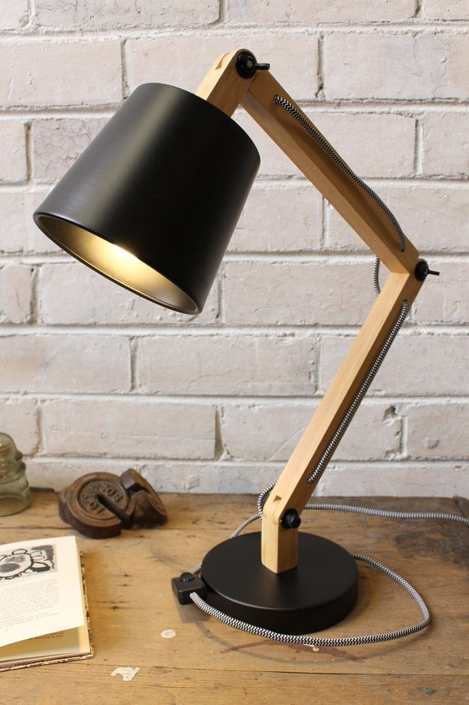 Timber Desk Lamp with Metal Shade $170