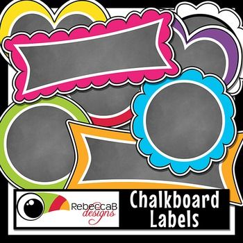 Back to School Chalkboard Labels CLIP ART contains 54 brightly colored, chalkboard filled labels as individual clip art PNG files. Perfect for product covers, name tags, folders, shelves, posters etc. Import the individual Clip Art to your editing program and add text over the chalkboard.