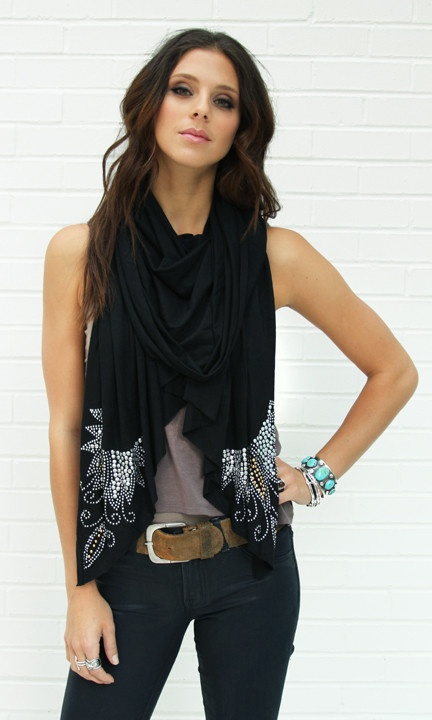 Wrap with Studded Edges: Black Scarves, Scarfs Outfits, Single Things, Studs Edge, Clothing, Scarfs Ideas, Black Scarfs, Studs Wraps, Rhinestones Belts