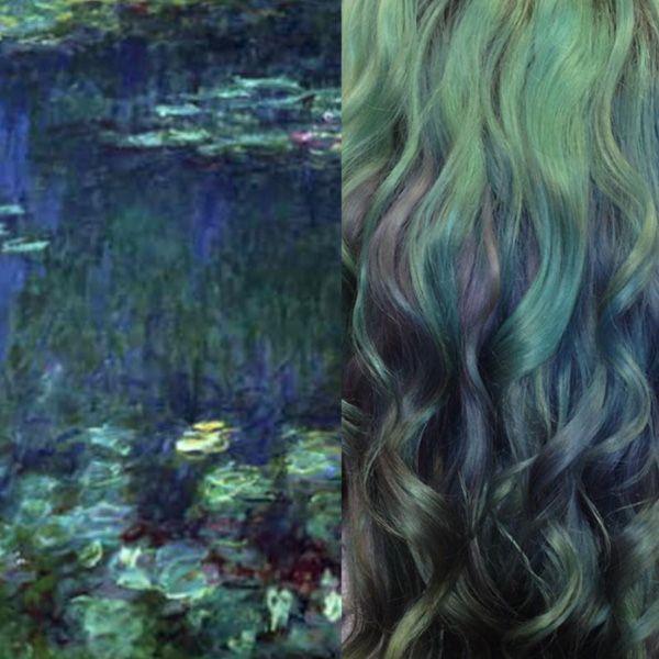 Lirios de agua, de Claude Monet. Otra de las admirables imitaciones de tonos, esta vez, tomadas del impresionista francés.