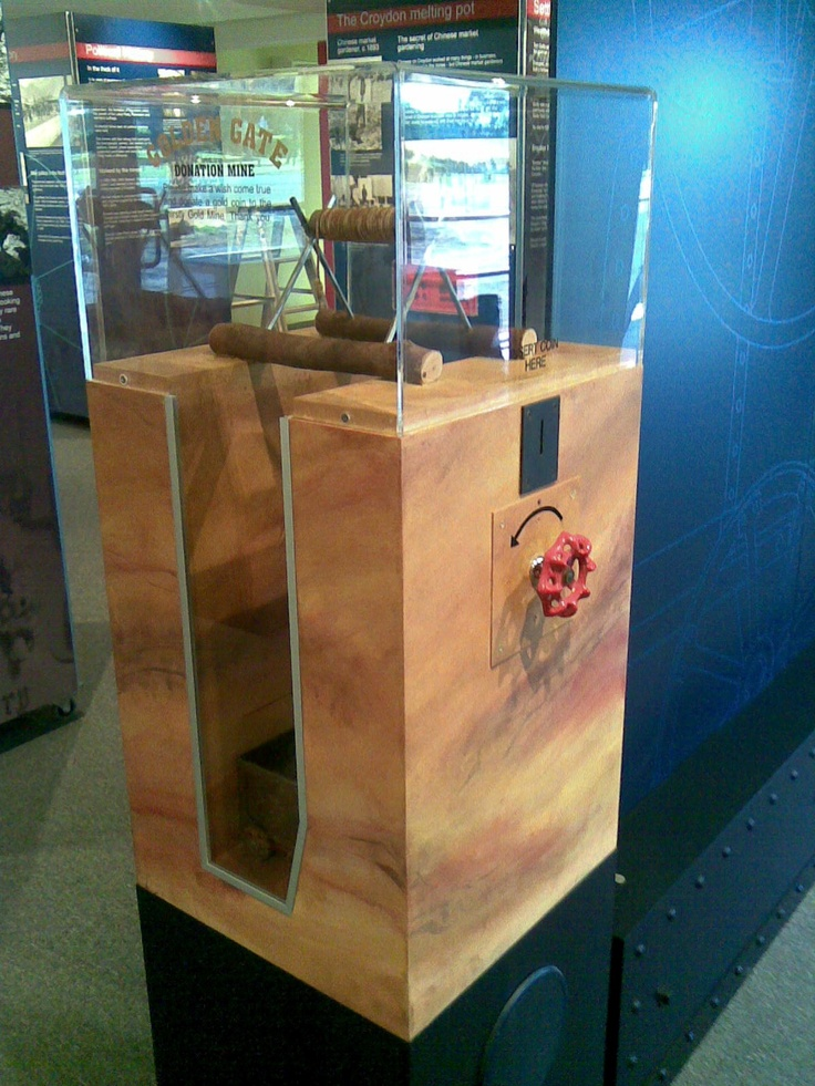 Interactive donation box. Custom made electromechanical devices, sound unit and fabricated scale models.