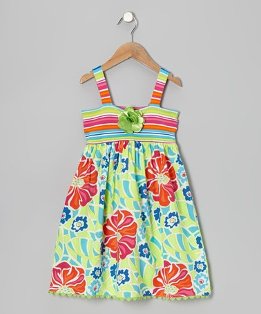 Take a look at this Teal Stripe Floral Dress - Toddler & Girls by Youngland on #zulily today!