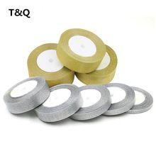 TQ Glitter Gouden Zilveren Lint 15mm 25 Yard 22 M Metallic Glans Bruiloft Decoratie Singels Uitnodigingskaart Cadeaupapier…