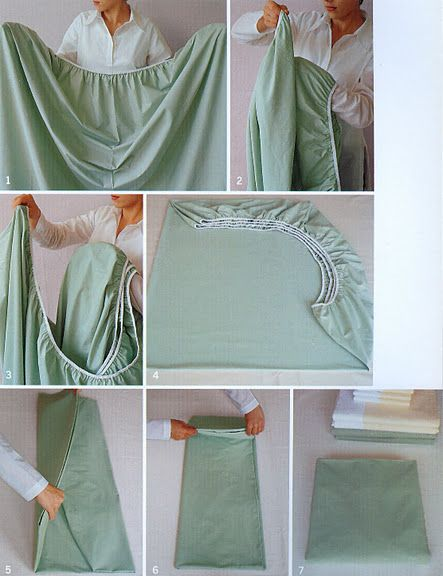 Folding a fitted sheet.