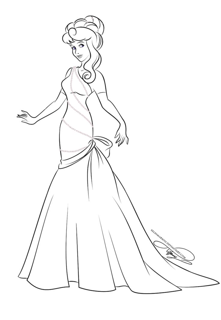 lineart glamorous fashion aurora by selinmarsou on