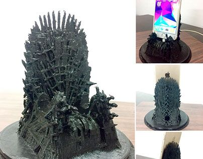 """Check out new work on my @Behance portfolio: """"3D Printed Iron Throne Mobile Charging Station"""" http://be.net/gallery/60388209/3D-Printed-Iron-Throne-Mobile-Charging-Station"""