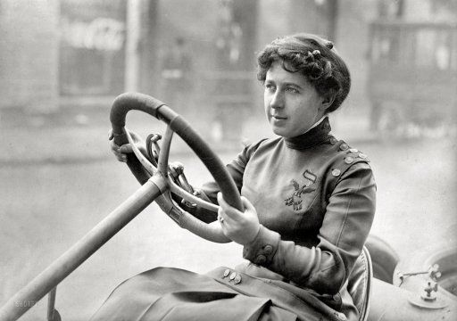 Joan Newton Cuneo, a socialite who by 1905 was driving her third White Steamer; that fall she did fast exhibition driving, ran against Barney Oldfield, & set the women's record for the flying mile at 1 minute and 24 seconds. After her stunning victories in New Orleans, the AAA (which sponsored most big races) banned women drivers, and even women passengers from racing events;  many felt it was because too many men would stay away if they were beaten by a woman. MORE AT LINK