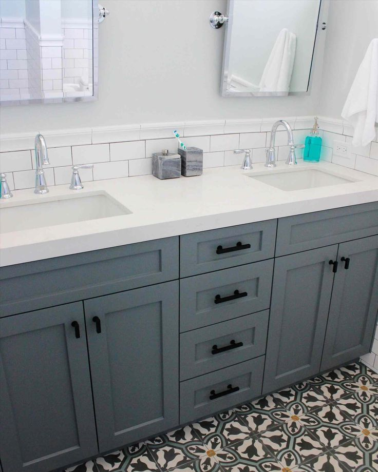 Blue Tile Accent Wall And Gray Vanity: White Subway Tile, White Counter, And Gray/blue Vanity