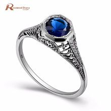 100% 925 Sterling Silver September Birthstone Ring Dark Blue Crystal Finger Rings Women Vintage Punk Wedding Jewelry 2017 //Price: $US $19.43 & FREE Shipping //     #jewelry