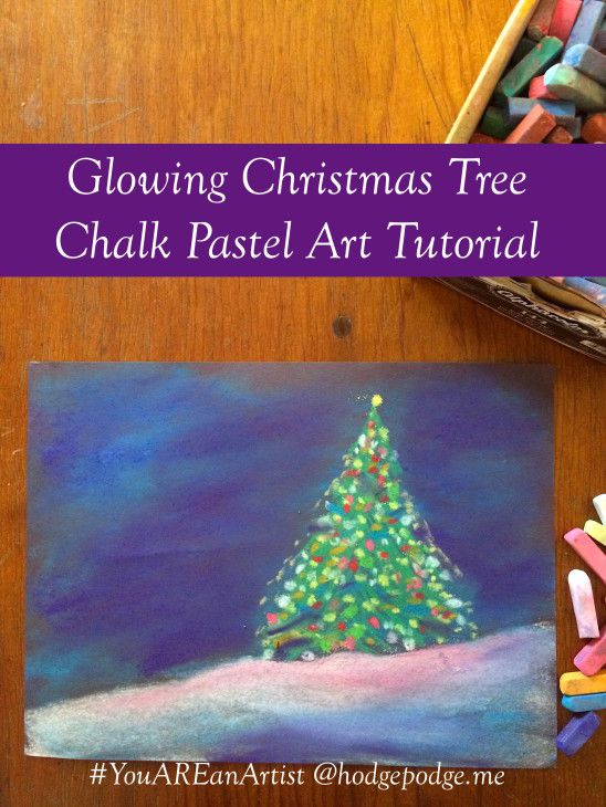 Glowing Christmas Tree Chalk Pastel Art Tutorial at Hodgepodge - You ARE an Artist!