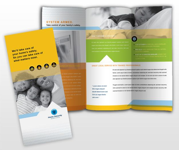 Residential surveillance systems brochure template for Single fold brochure template