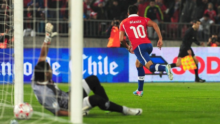 Chile´s Alexis Sanchez (R) celebrates after scoring past Bolivian goalkeeper Sergio Galarza (L) during their FIFA World Cup Brazil 2014 South American qualifying football match at Nacional stadium in Santiago on June 11, 2013. AFP PHOTO/CLAUDIO SANTANA #brazil2014 #sport #worldcup #betting #tips #updates #SMS #cup  JOIN THE WORLD CUP WITH http://prowintips.com
