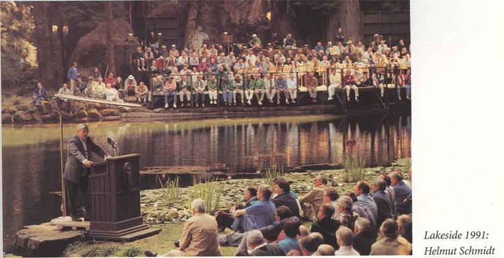 "German Chancellor Helmut Schmidt addresses the elite of the world at a lakeside talk. Helmut Schmidt, in his own autobiography, ""Men and Powers, a Political Retrospective, says that he is a member of the Council on Foreign Relations, the Trilateral Commission and the Bilderberg group. He also says that he has been an active participant in bringing in world government. Mr. Schmidt also said in his book that leaders from globalist bodies travel to the Grove every summer. He talks about secret"