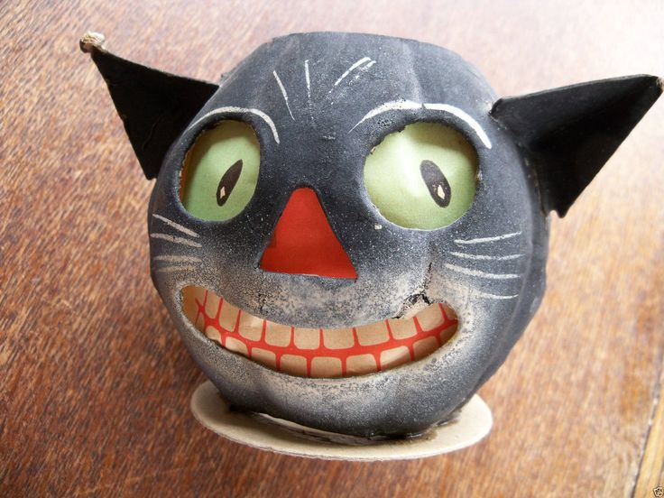 vintage halloween german black cat paper mache lantern