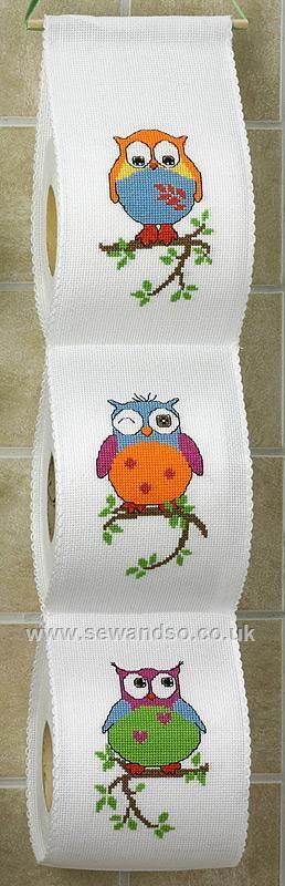 Buy Owls Toilet Roll Tidy Cross Stitch Kit Online at www.sewandso.co.uk