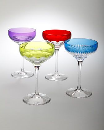 """Four Assorted """"Mixology"""" Coupe Glasses by #Waterford at #Horchow."""