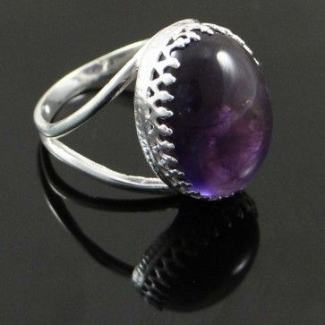 925 Sterling Silver Jewellery Amethyst Stone Ring for Woman.