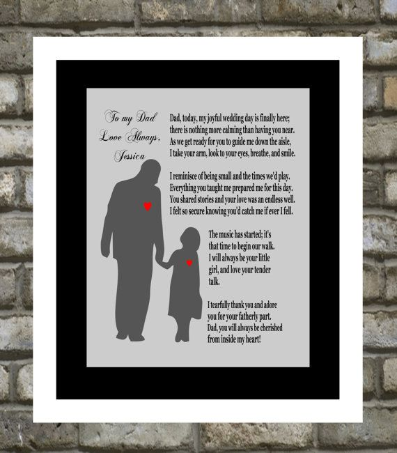 Personalized Wedding Gift: Father Of The Bride Thank You Gifts, Under 20 For Parents Unique Gift 8x10 ANY COLOR
